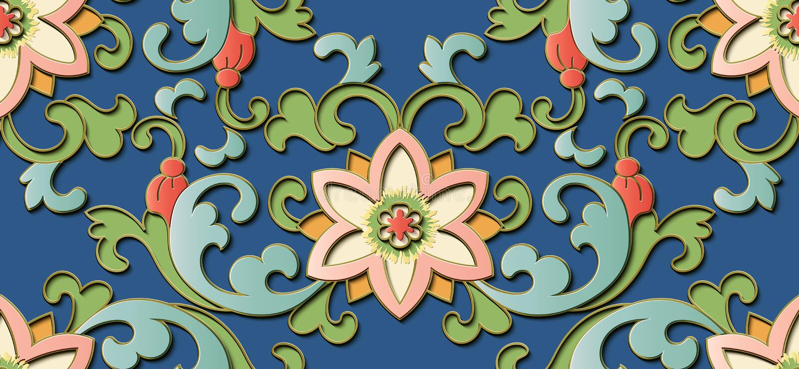 Seamless relief sculpture decoration retro pattern Chinese botanic garden flower leaf spiral cross vine. Ideal for greeting card or backdrop template design stock illustration
