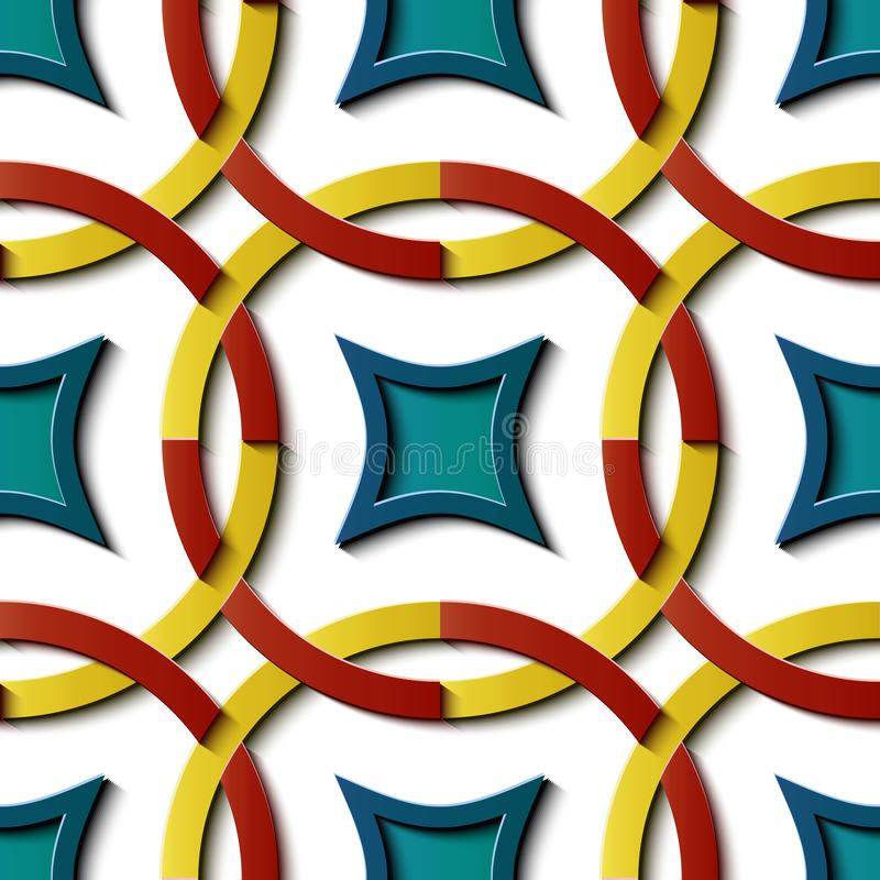 Seamless relief sculpture decoration retro pattern colorful round cross frame chain geomettry line kaleidoscope stock illustration