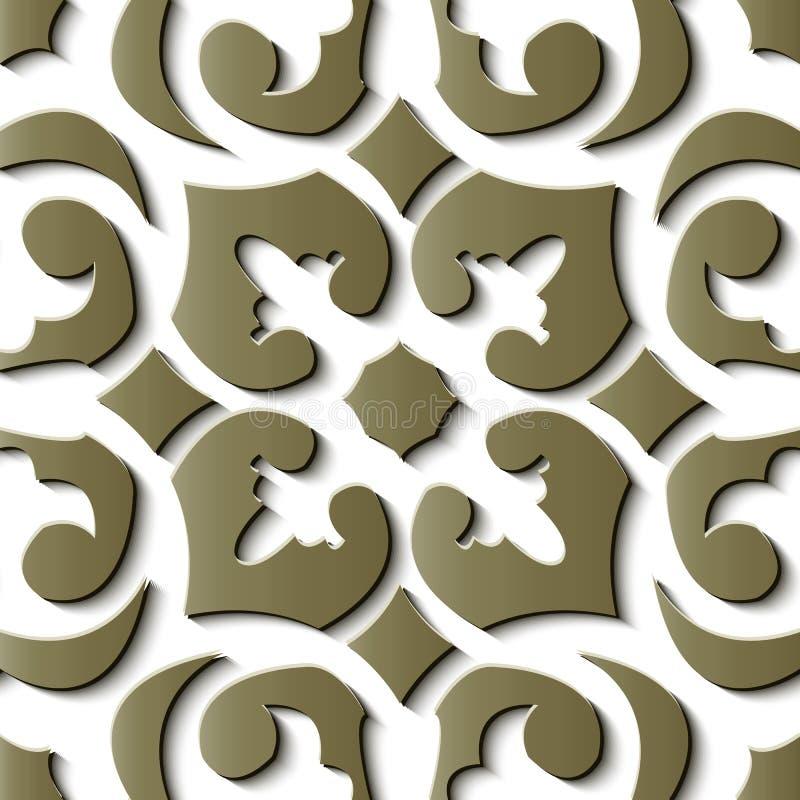 Seamless relief sculpture decoration retro pattern gold spiral c vector illustration