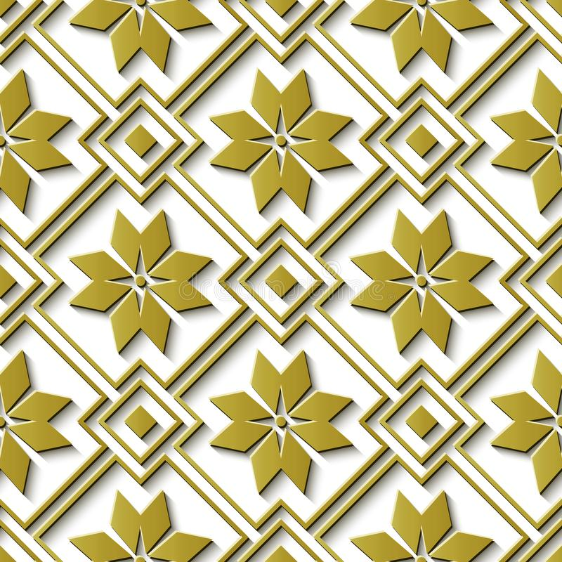 Seamless relief sculpture decoration retro pattern gold star che. Ck geometry cross frame flower. Ideal for greeting card or backdrop template design royalty free illustration