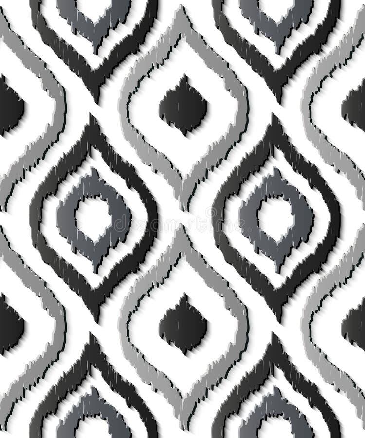 Seamless relief sculpture decoration retro pattern gray curve oval cross frame line geometry kaleidoscope stock illustration