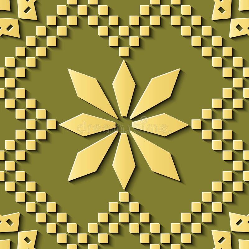 Seamless relief sculpture decoration retro pattern polygon mosaic geometry star cross flower royalty free illustration