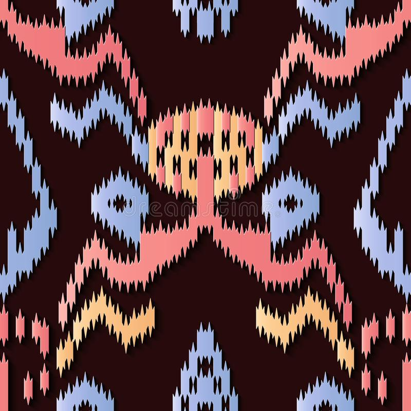 Seamless relief sculpture decoration retro pattern sawtooth aboriginal geometry cross frame kaleidoscope. Ideal for greeting card or backdrop template design royalty free illustration