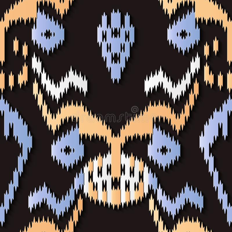 Seamless relief sculpture decoration retro pattern sawtooth aboriginal geometry cross frame kaleidoscope. Ideal for greeting card or backdrop template design stock illustration