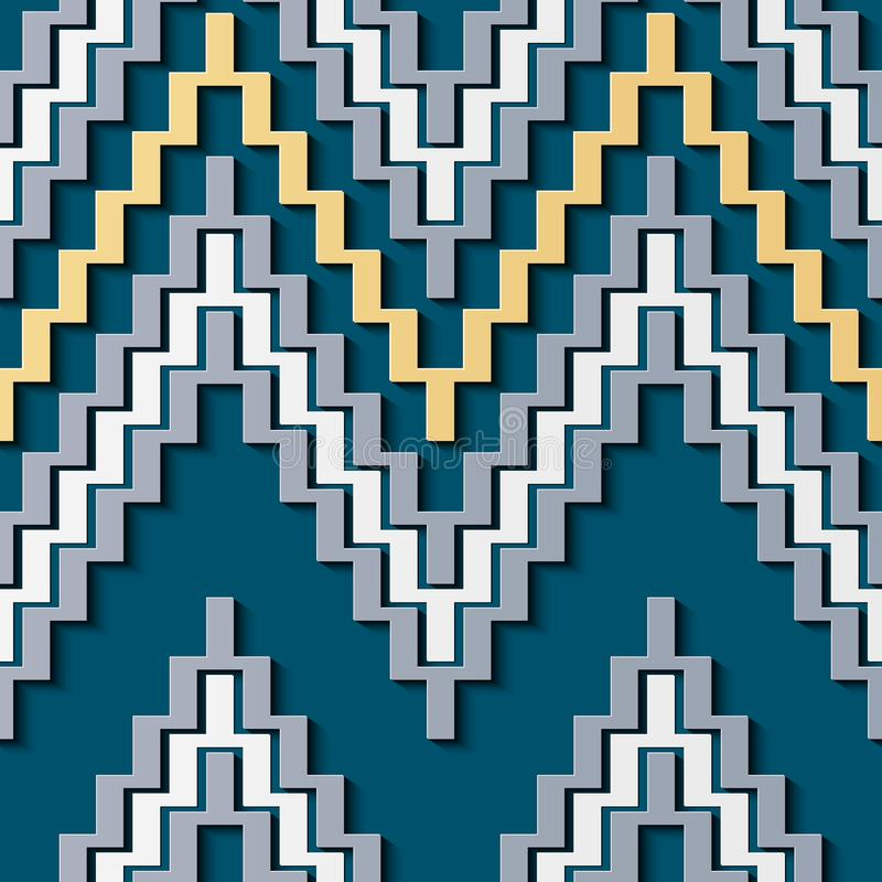 Seamless relief sculpture decoration retro pattern sawtooth triangle wave cross frame line. Ideal for greeting card or backdrop template design royalty free illustration