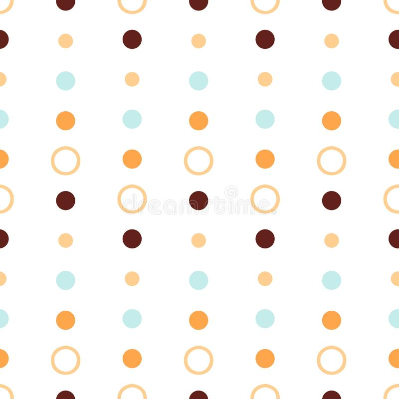 Seamless repeat abstract pattern with round shapes in pastel orange, blue and brown dots texture on white background. cute wallpap royalty free illustration