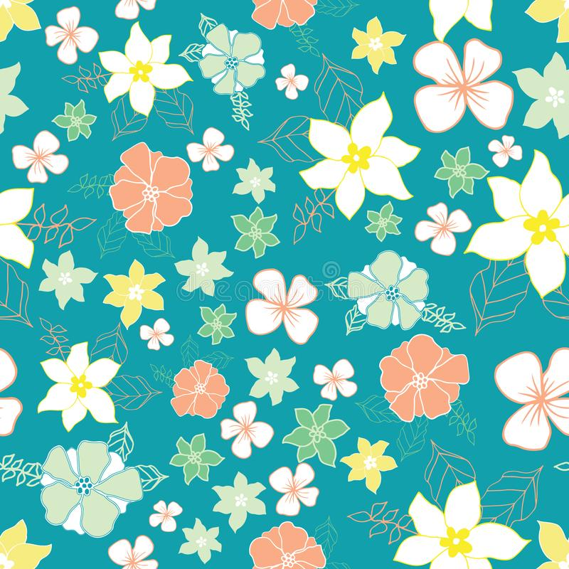 Seamless repeat floral vector pattern vector illustration