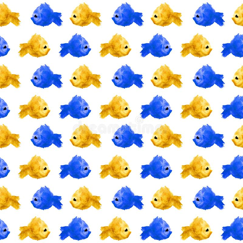 Seamless repeat grid pattern of colorful watercolor silhouette fishes as blots, stains, polka dot on white background. Blue and stock illustration