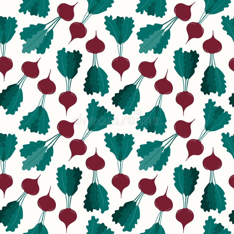 Beetroot harvest seamless pattern. Seamless repeat pattern with beetroots. Hand drawn vector illustration. Flat style design. Concept for autumn harvest, healthy vector illustration