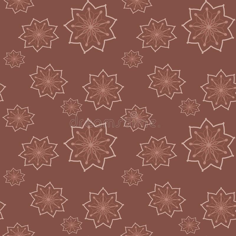Seamless repeat pattern with beige flowers in on brown background. drawn fabric, gift wrap, wall art design, wrapping paper, vector illustration