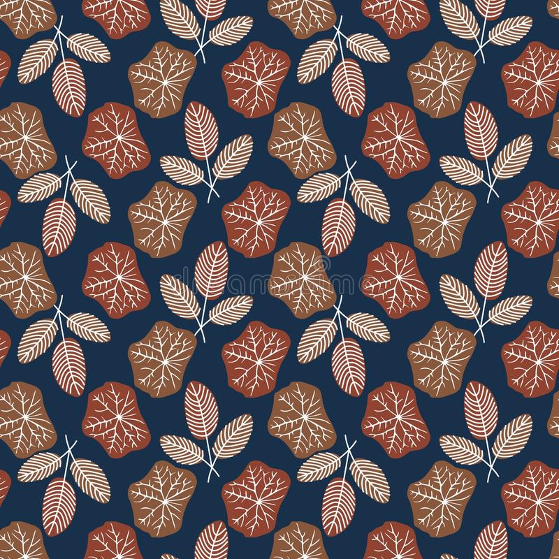 Seamless repeat pattern with brown leaves on dark blue background stock illustration
