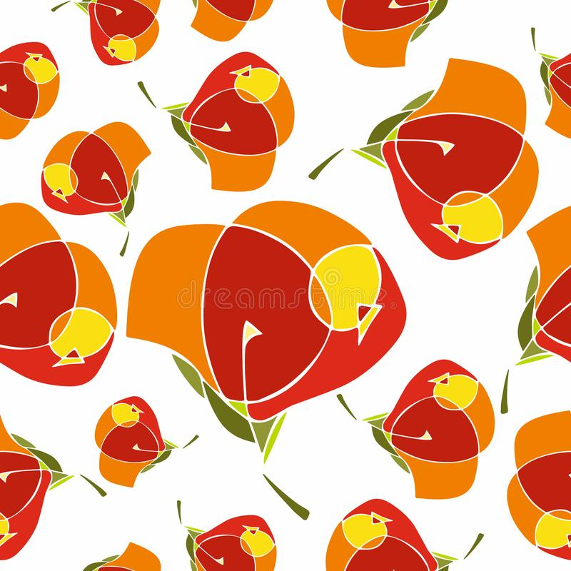 Seamless repeat pattern with cute flowers in red, orange and yellow on white background. Hand drawn floral texture for vector illustration