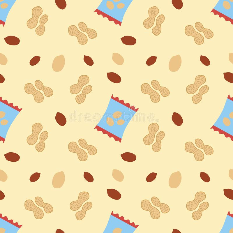 Seamless repeat pattern with peanut pack, kernels and nutshells vector illustration