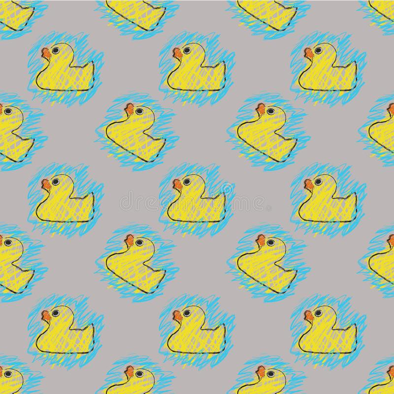 Seamless Repeat Rubber Duck Sketch Coloring Book stock photo