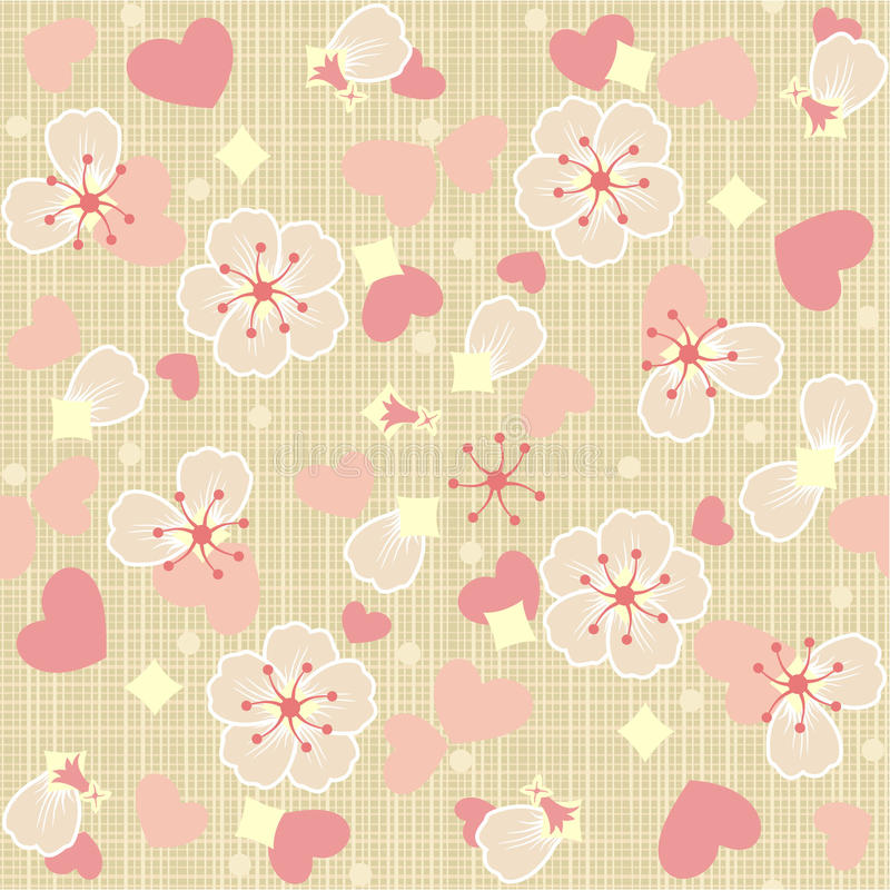 Seamless (repeatable) floral tulle background royalty free illustration