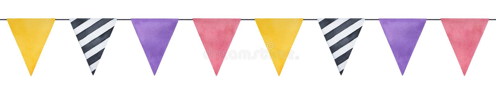 Colorful triangle flag bunting illustration. Seamless repeatable line. Hand drawn watercolour painting on white background, isolated element for festive design vector illustration