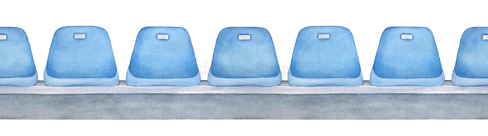 Seamless repeatable line of pale blue empty seats on gray platform. royalty free illustration