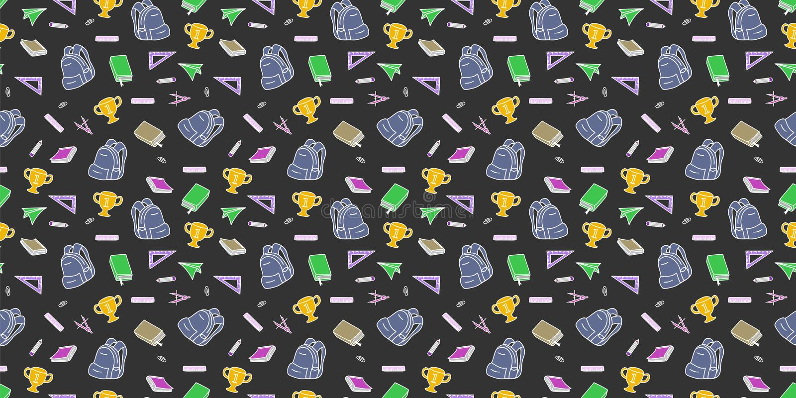 Seamless repeated colored back to school pattern with supplies stationary and creative elements doodle drawing. Colorful fun cute. Vector illustration line vector illustration