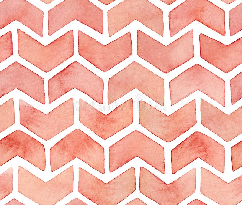 Seamless repeated pattern of cute artistic decorative ornamental zigzagged arrows or checkmark symbols stock illustration