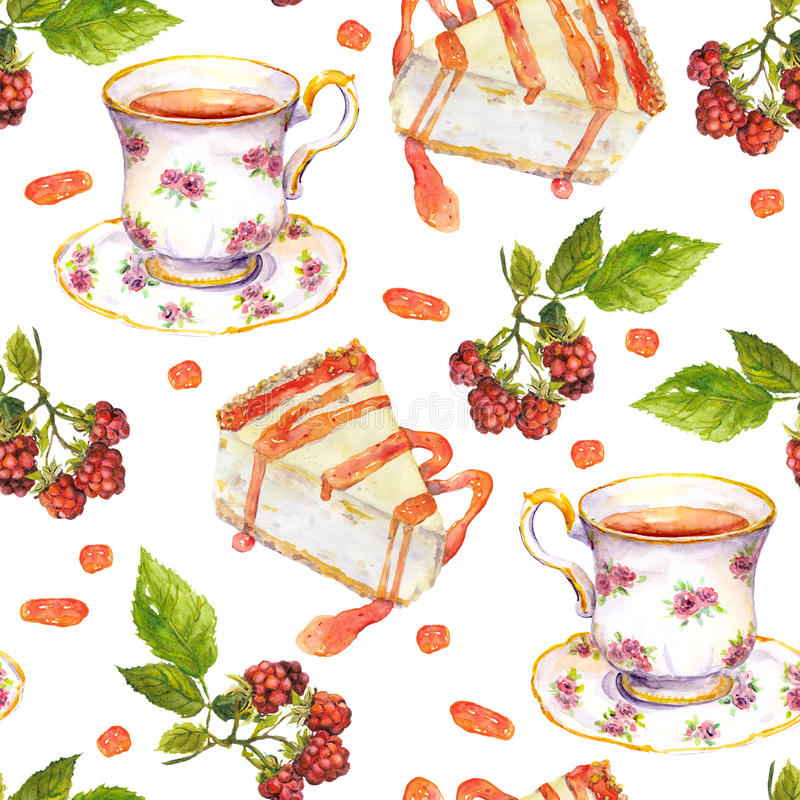 Seamless repeated pattern - tea cup, raspberry berries, dessert cakes. Watercolor vector illustration