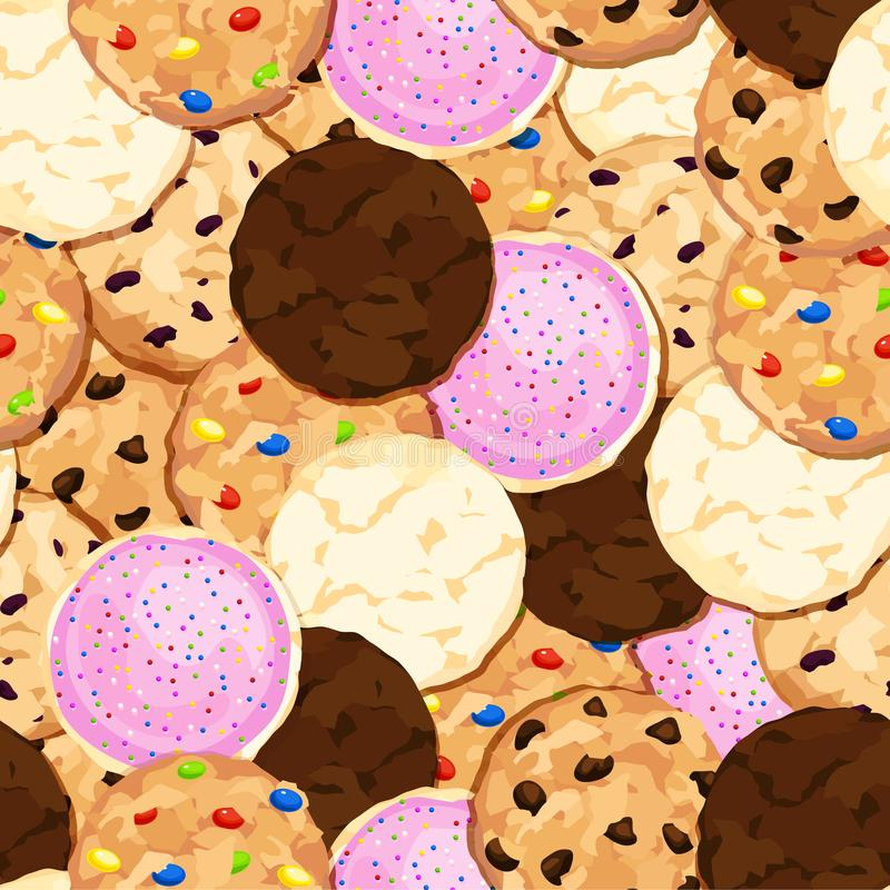 Cookie Pile Seamless Background with Chocolate Chip, Fudge, Sugar, Iced, Oatmeal Raisin Cookies royalty free illustration