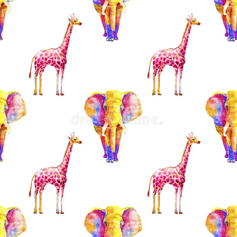 Seamless repeating exotic pattern watercolor bright colored giraffe and an elephant from multicolored spots on a white background royalty free illustration