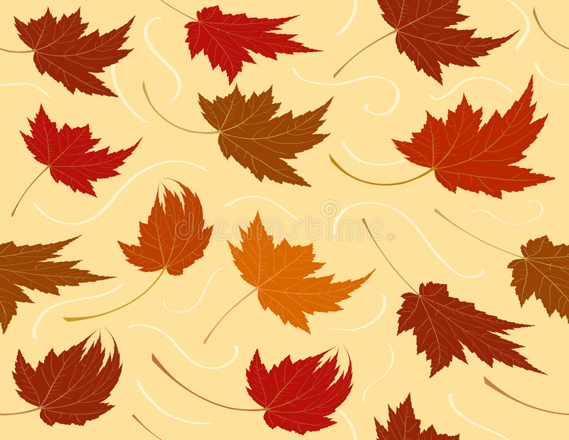 Seamless Repeating Fall Leaf Background stock illustration