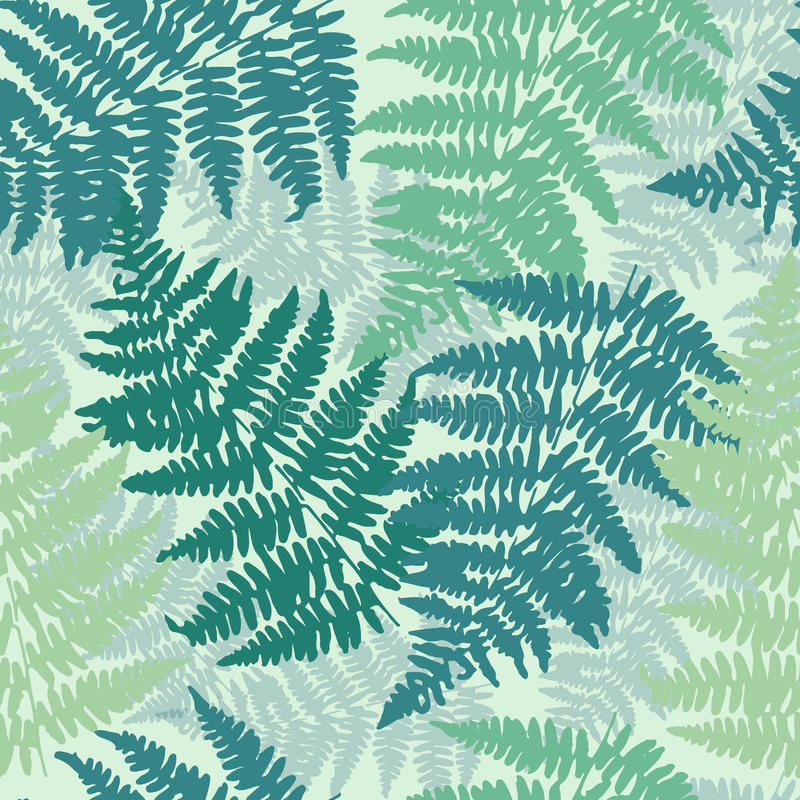 Seamless, repeating fern pattern background royalty free illustration