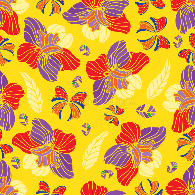 Seamless repeating floral pattern vector illustration