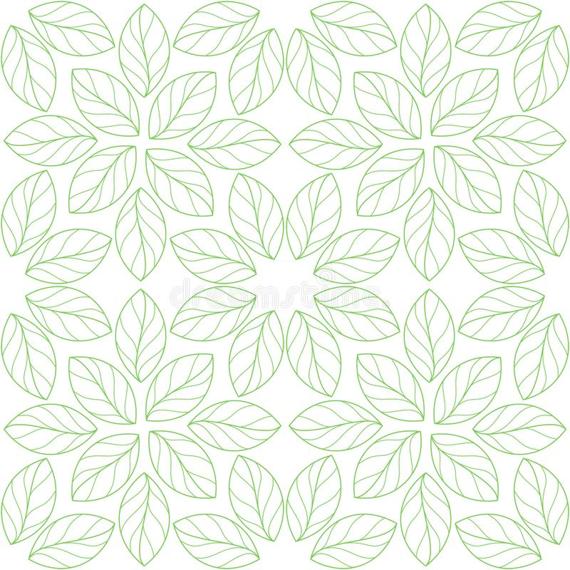 Seamless linear leaves pattern vector illustration