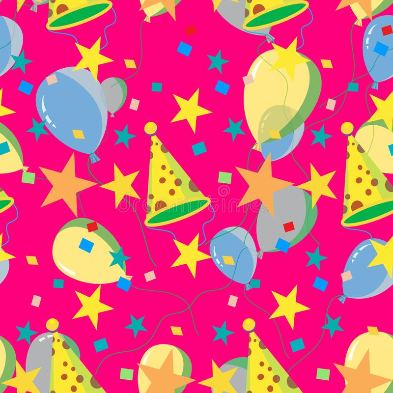 Seamless repeating pattern of balloons, caps, confetti vector illustration