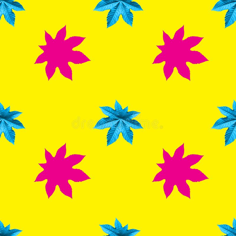 Seamless pattern from castor oil plant yellow with pink color royalty free illustration