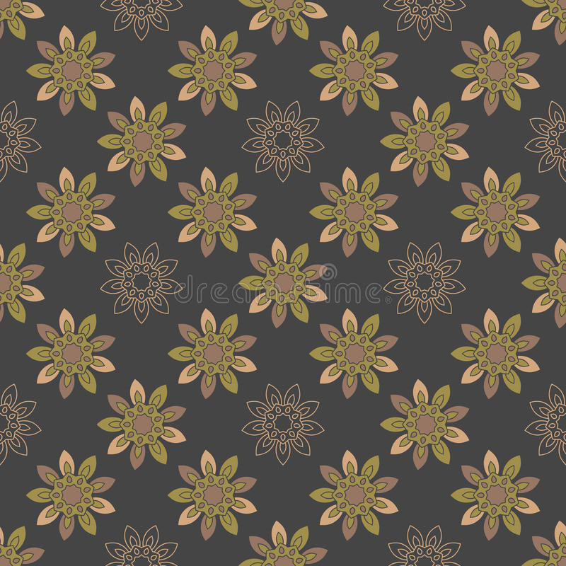 Seamless repeating pattern with colored abstract flowers. stock illustration