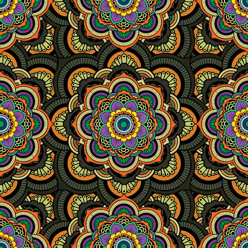 Seamless repeating pattern consisting of colored mandal.Vector. Art stock illustration