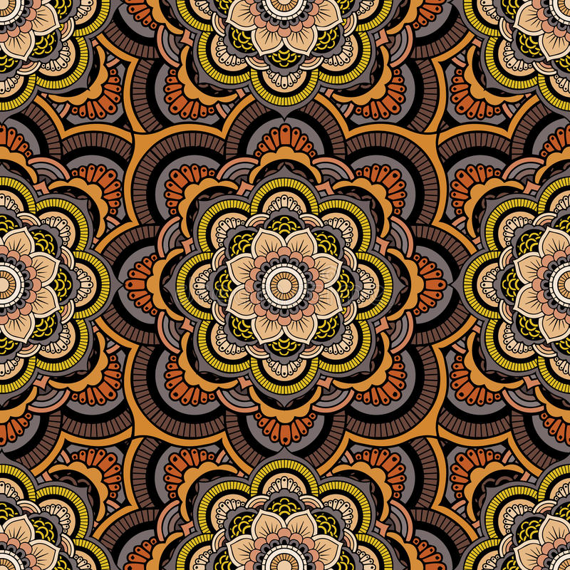 Seamless repeating pattern consisting of colored mandala. Vector stock illustration