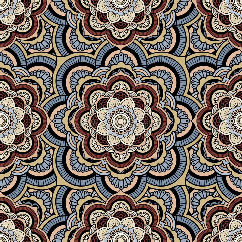 Seamless repeating pattern consisting of colored mandala. Vector royalty free illustration