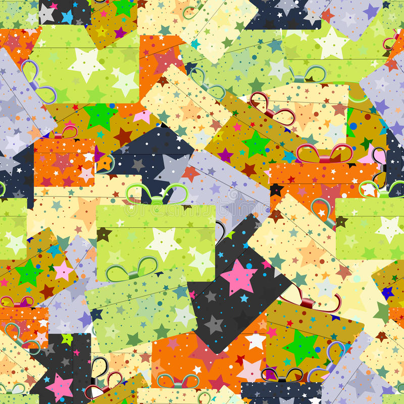 Seamless repeating pattern of gift boxes vector illustration