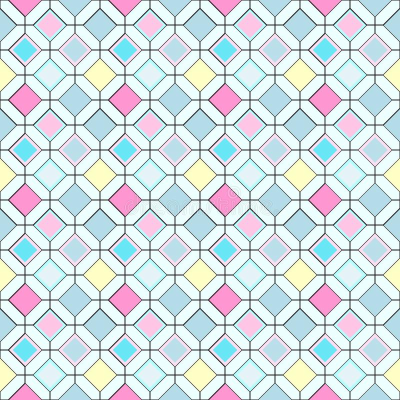 Seamless repeating pattern of multi-colored rhombuses royalty free illustration