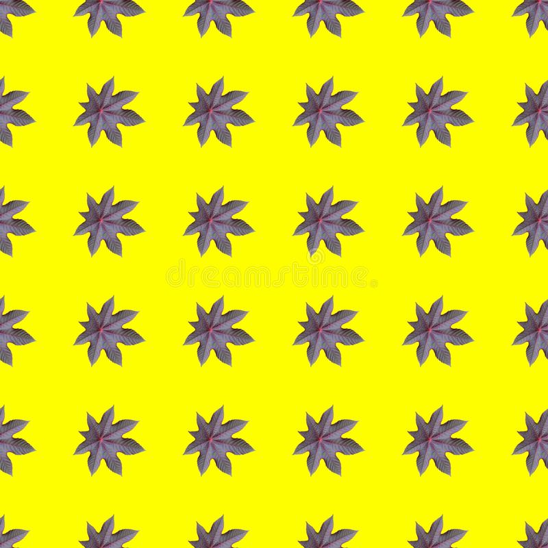 Seamless repeating pattern from ricinus communis on yellow background. Seamless repeating pattern from castor oil plant on yellow background, flower, wallpaper stock photo