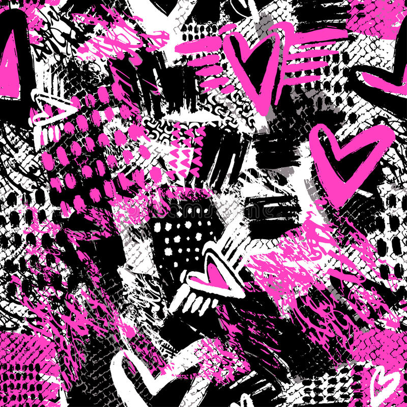 Free Seamless Repeating Textile Ink Brush Strokes Pattern In Doodle G Stock Photography - 94232422