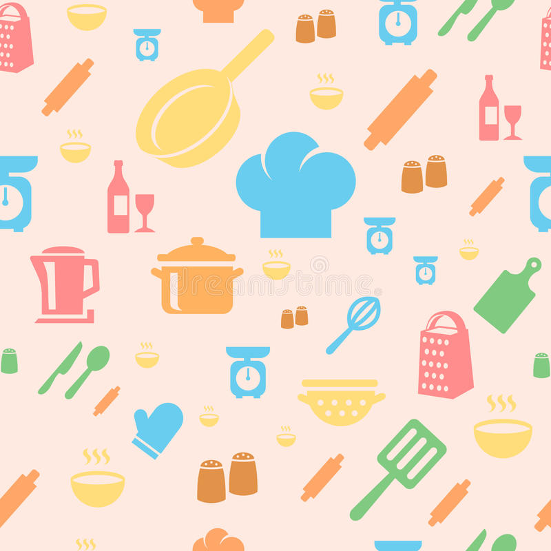 Seamless repetitive pattern with kitchen items in royalty free illustration