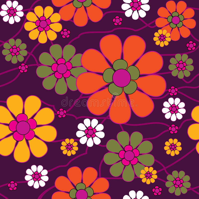 Seamless retro background. Seamless abstract retro floral background stock illustration