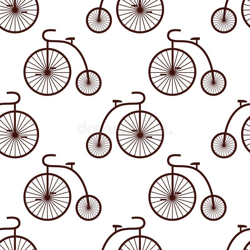 Seamless retro bicycle pattern. Vintage transport illustration. stock illustration