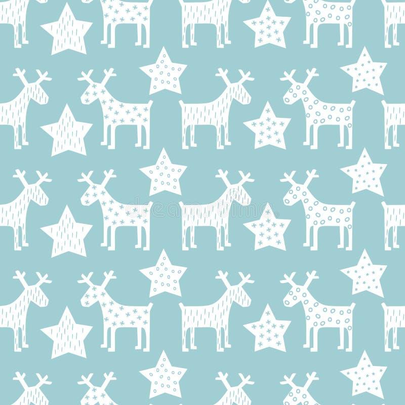 Seamless retro Christmas pattern - Xmas reindeer and night stars. stock illustration