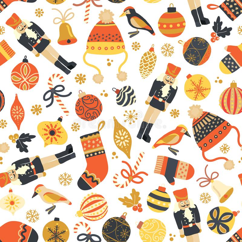 Seamless retro Christmas vector pattern background. Nutcracker, hat, mittens, stocking, candy cane, bird, ornaments. Repeating stock illustration