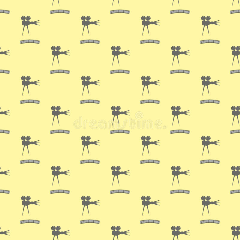 Seamless Retro Cinema Pattern. Old Movie Projector Film Strip Background vector illustration