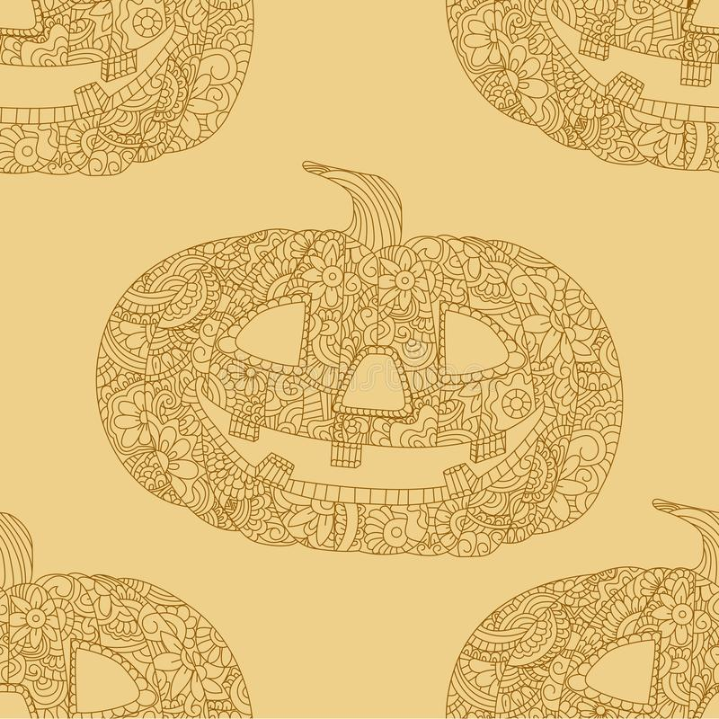 Seamless retro color object. Yellow and orange ornament. Decorations and holidays, announcements. Antistress coloring. For adults. Pumpkin Head, Patterned stock illustration