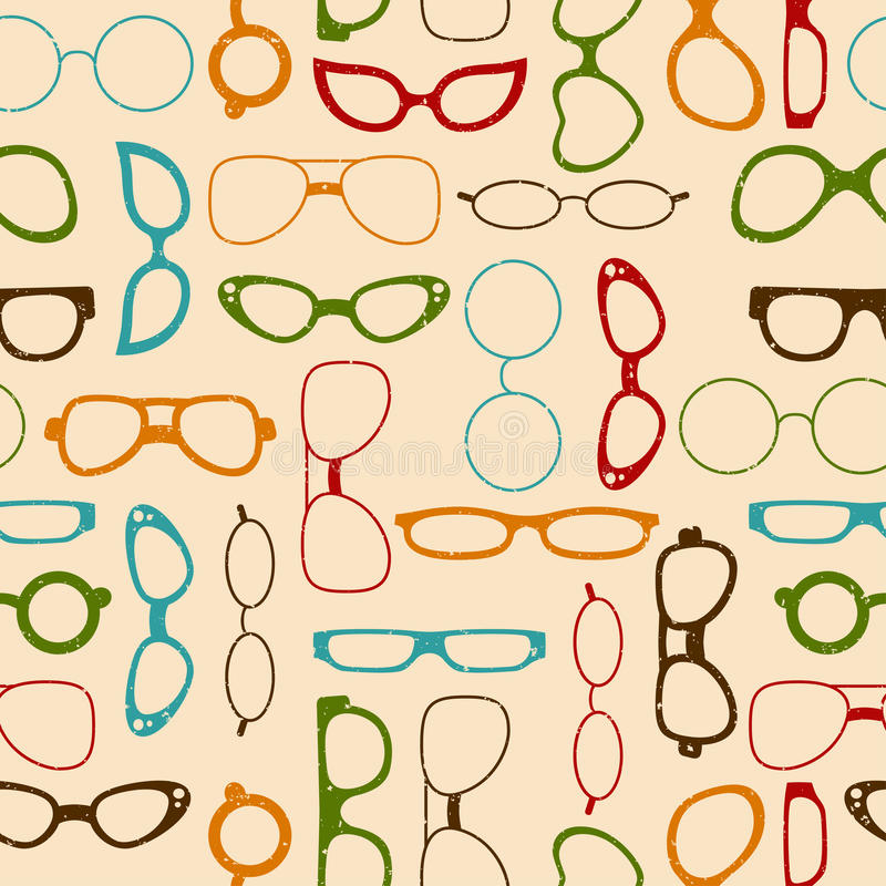 Seamless Retro Color Pattern With Glasses Stock Vector ...