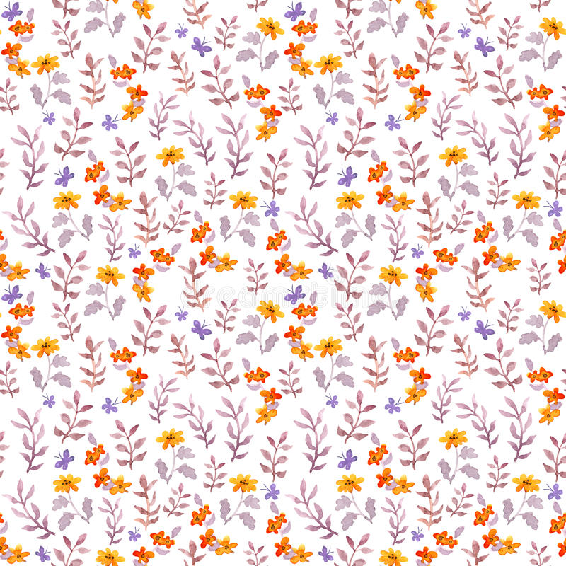Seamless retro decorative floral swatch. Cute flowers, leaves and retro butterflies. Aquarelle. Seamless retro decorative floral swatch. Cute flowers, leaves and stock photography