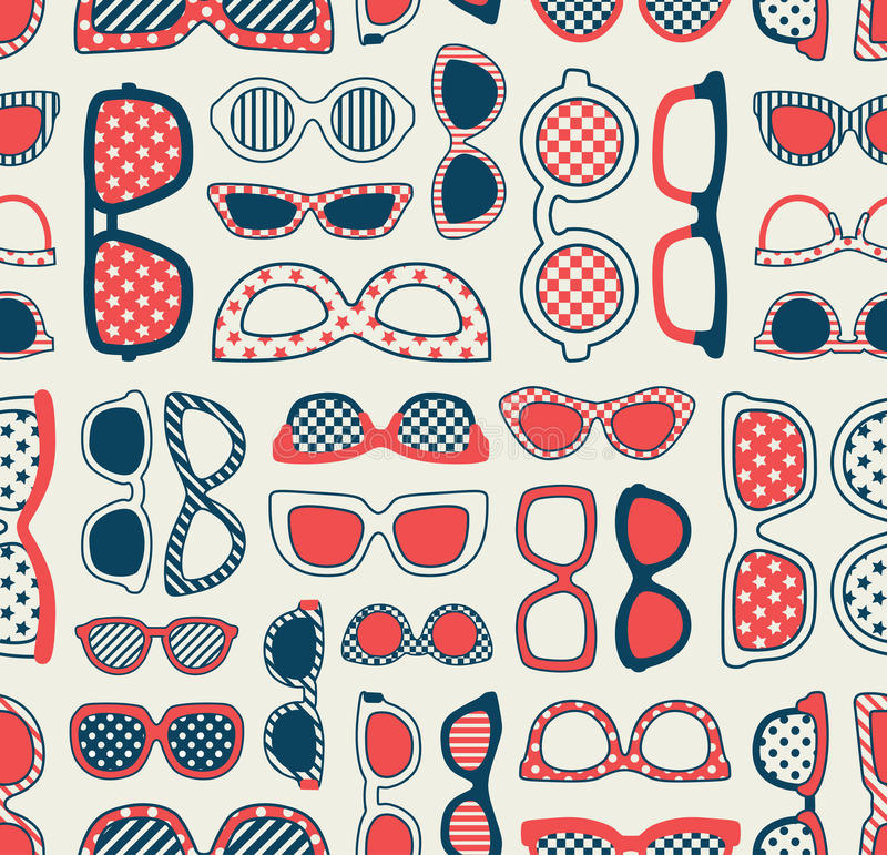 Seamless retro eyeglasses pattern vector illustration